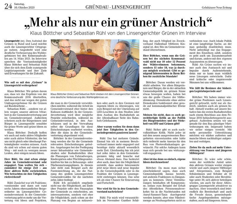 Gelnhäuser Neue Zeitung vom 10.10.2020