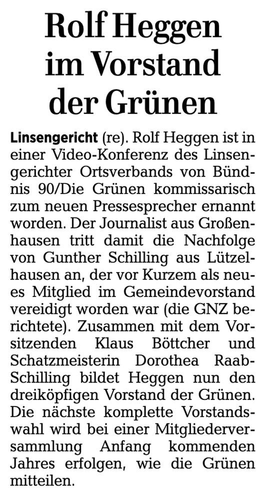 Gelnhäuser Neue Zeitung vom 13.11.2020