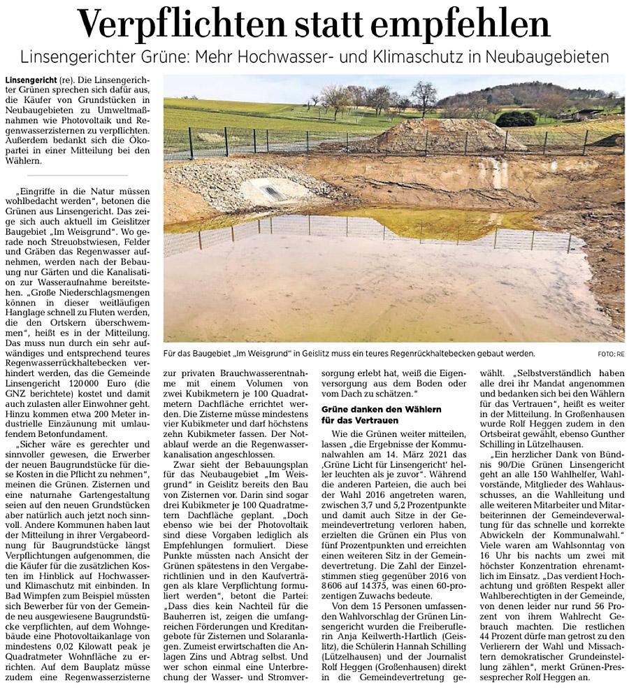 Gelnhäuser Neue Zeitung vom 27.3.2021